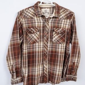 VTG Roebuck and Co Western Flannel Shirt Pearl SNP